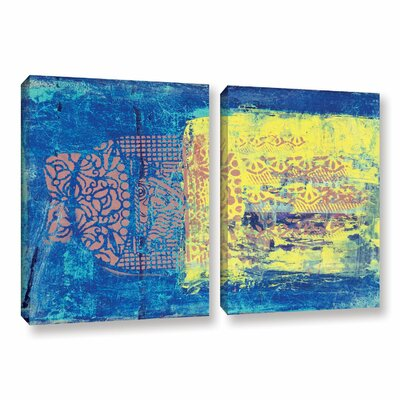 Blue With Stencils by Elena Ray 2 Piece Painting Print on Wrapped Canvas Set 0ray061b3248w