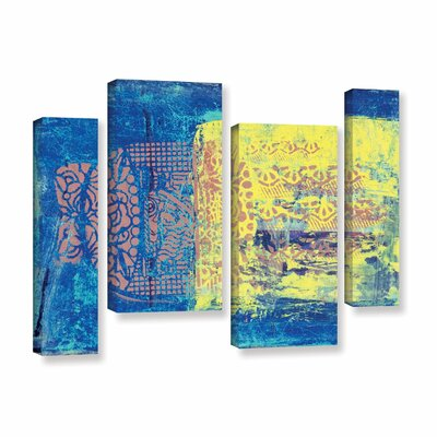 Blue With Stencils by Elena Ray 4 Piece Painting Print on Wrapped Canvas Set 0ray061i3654w