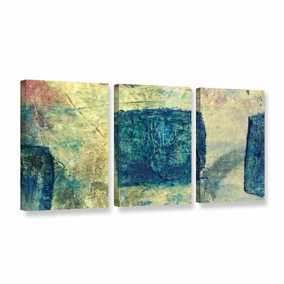 Blue Golds by Elena Ray 3 Piece Painting Print on Wrapped Canvas Set 0ray058c2448w
