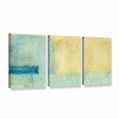 Gold And Blue Banner by Elena Ray 3 Piece Painting Print on Wrapped Canvas Set 0ray070c2448w