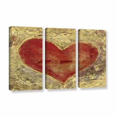 Red Heart of Gold by Elena Ray 3 Piece Painting Print on Wrapped Canvas Set 0ray086c3654w