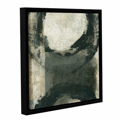 Abstract Grey With Black Circles by Elena Ray Framed Painting Print on Wrapped Canvas 0ray100a1414f