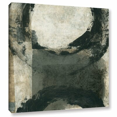 Abstract Grey with Black Circles by Elena Ray Painting Print on Wrapped Canvas 0ray100a1010w
