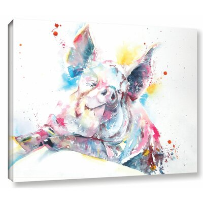 'Pig 7' by Liz Chaderton Painting Print on Wrapped Canvas Size: 36