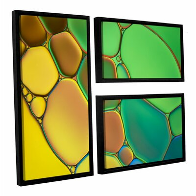 'Stained Glass III' by Cora Niele 3 Piece Framed Graphic Art on Canvas Set 0nie074g2436f