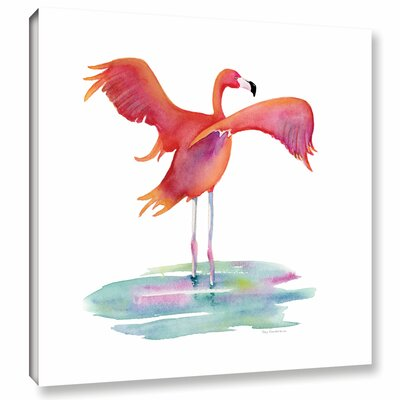 'Flamingo Wings' by Amy Kirkpatrick Painting Print on Wrapped Canvas Size: 18