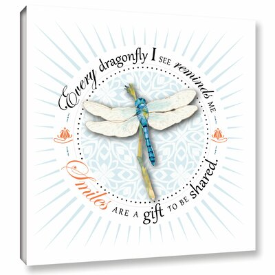'Dragonfly Smile' by Amy Kirkpatrick Wall Art on Wrapped Canvas Size: 14