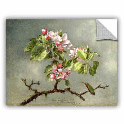 Martin Johnson Heade 'Apple Blossoms and a Hummingbird' Painting Print Wall Mural Size: 14