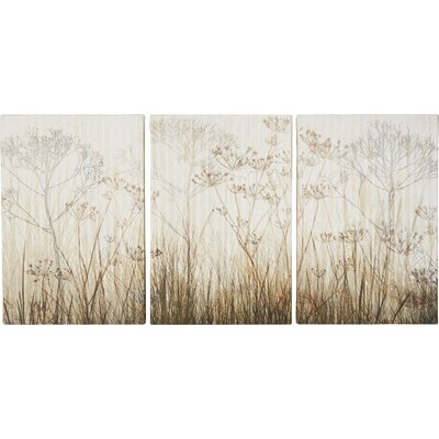 'Wildflowers Ivory' 3 Piece Graphic Art on Wrapped Canvas Set