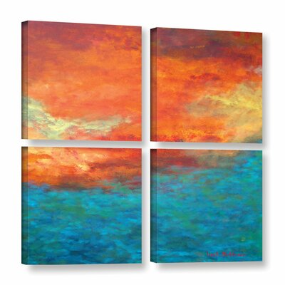 'Lake Reflections II' 4 Piece Painting Print on Wrapped Canvas Set Size: 36