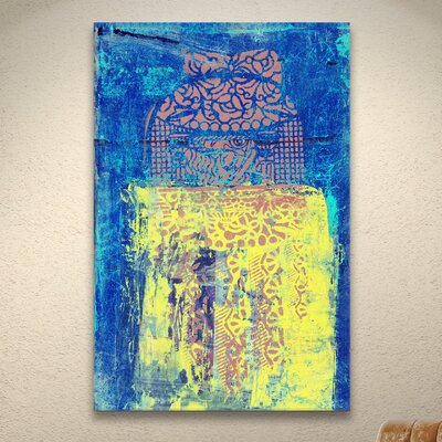 Blue With Stencils by Elena Ray Painting Print on Wrapped Canvas 0ray061a0812w
