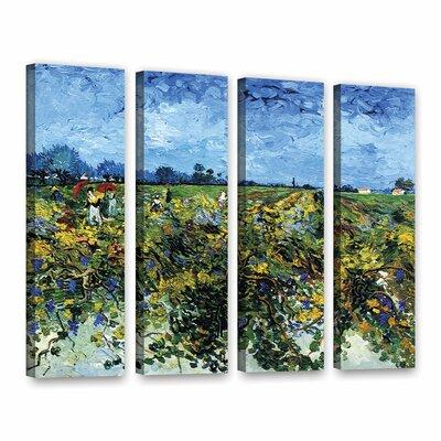 Green Vineyard by Vincent Van Gogh 4 Piece Wall Art on Wrapped Canvas Set 0van025d2432w