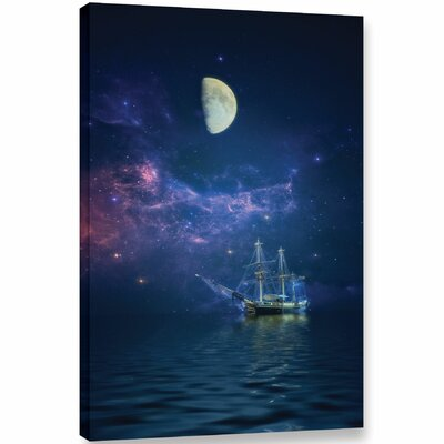 ' Way Of The Moon And Stars'  Graphic Art Print On Wrapped Canvas Size: 12