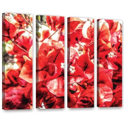 'Venetian Red Bouquet' Print Multi-Piece Image on Wrapped Canvas Size: 24