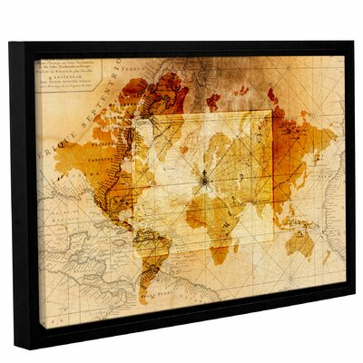 'World Map Focus'  Framed Graphic Art Print On Wrppaed Canvas Size: 12