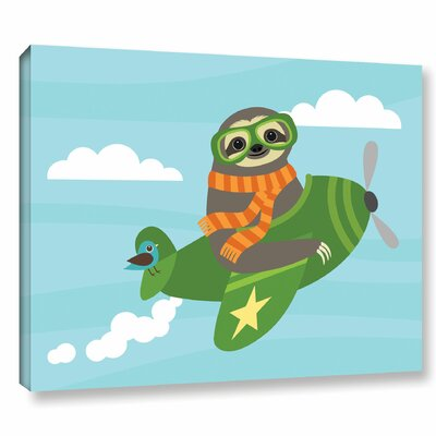 'Airborn Sloth' Graphic Art Print on Wrapped Canvas Size: 14