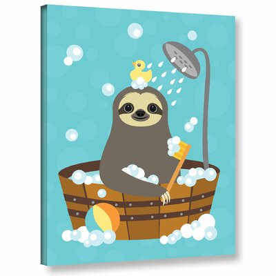 'Bathing Sloth'  Graphic Art Print On Wrapped Canvas Size: 10