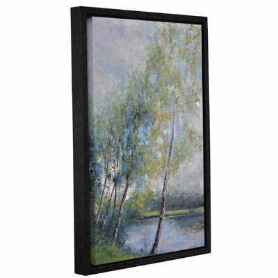'Poetry On Riverbank' Framed Painting Print On Canvas Size: 18