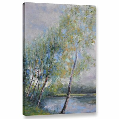 'Poetry On Riverbank' Painting Print On Wrapped Canvas Size: 12