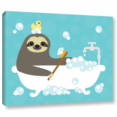'Scrubbing Bubbles Sloth'  Graphic Art Print On Wrapped Canvas Size: 14