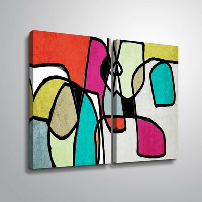 'Vibrant Colorful Abstract IV' Rectangle Graphic Art Print Multi-Piece Image Format: Wrapped Canvas, Size: 18