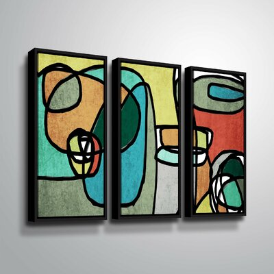'Vibrant Colorful Abstract IX' Graphic Art Print Multi-Piece Image on Canvas Format: Black Framed, Size: 24