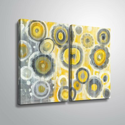 'Abstract Circles' Watercolor Painting Print Multi-Piece Image on Wrapped Canvas Format: Wrapped Canvas, Size: 24