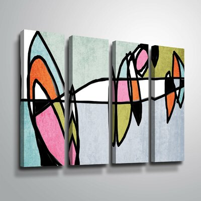 'Vibrant Colorful Abstract VI' Rectangle Graphic Art Print Multi-Piece Image on Canvas Format: Wrapped Canvas, Size: 24