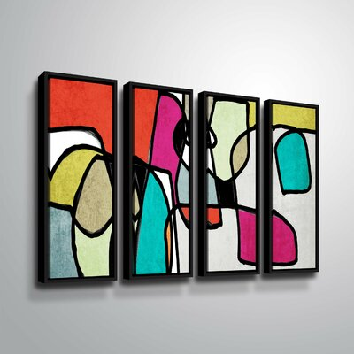 'Vibrant Colorful Abstract IV' Rectangle Graphic Art Print Multi-Piece Image on Canvas Format: Black Framed, Size: 24