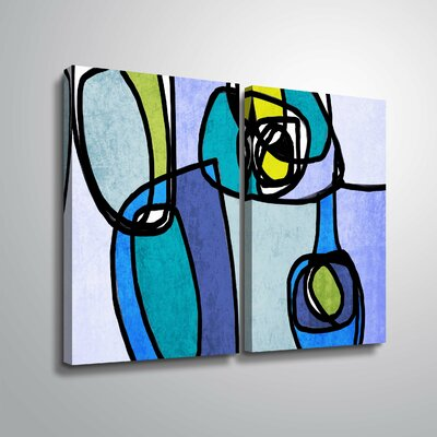 'Vibrant Colorful Abstract' Rectangle Graphic Art Print Multi-Piece Image Format: Wrapped Canvas, Size: 18