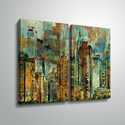 'Colorful New York' Graphic Art Print Multi-Piece Image on Wrapped Canvas Format: Wrapped Canvas, Size: 18