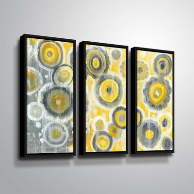 'Abstract Circles' Rectangle Watercolor Painting Print Multi-Piece Image on Wrapped Canvas Format: Black Framed, Size: 24