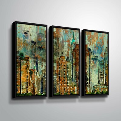 'Colorful New York' Graphic Art Print Multi-Piece Image Format: Black Framed, Size: 24