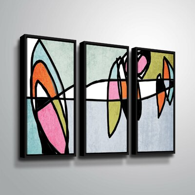 'Vibrant Colorful Abstract VI' Graphic Art Print Multi-Piece Image on Canvas Format: Black Framed, Size: 24