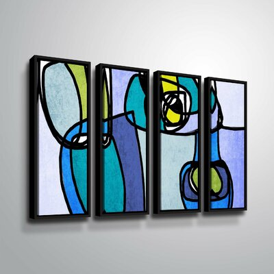 'Vibrant Colorful Abstract' Rectangle Graphic Art Print Multi-Piece Image on Canvas Format: Black Framed, Size: 24