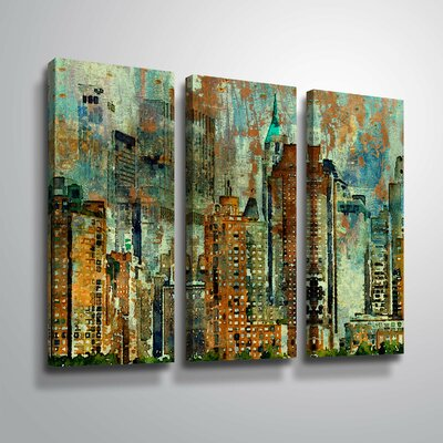 'Colorful New York' Graphic Art Print Multi-Piece Image Format: Wrapped Canvas, Size: 24