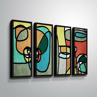 'Vibrant Colorful Abstract IX' Rectangle Graphic Art Print Multi-Piece Image on Canvas Format: Black Framed, Size: 24