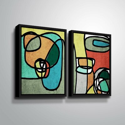 'Vibrant Colorful Abstract IX' Rectangle Graphic Art Print Multi-Piece Image Format: Black Framed, Size: 24