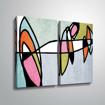 'Vibrant Colorful Abstract VI' Rectangle Graphic Art Print Multi-Piece Image Format: Wrapped Canvas, Size: 18