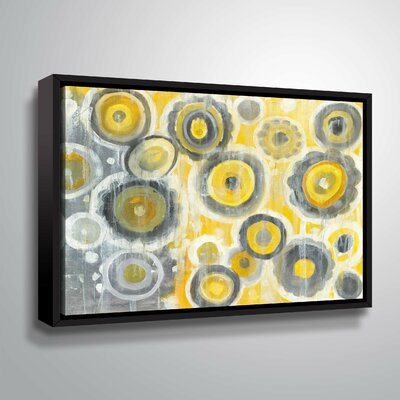 'Abstract Circles' Watercolor Painting Print Format: Black Framed, Size: 08