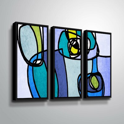 'Vibrant Colorful Abstract' Graphic Art Print Multi-Piece Image on Canvas Format: Black Framed, Size: 24