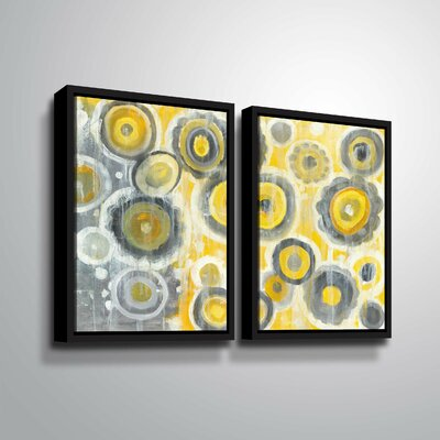 'Abstract Circles' Watercolor Painting Print Multi-Piece Image on Wrapped Canvas Format: Black Framed, Size: 24