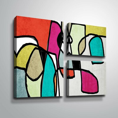 'Vibrant Colorful Abstract IV' Graphic Art Print Multi-Piece Image Format: Wrapped Canvas, Size: 24