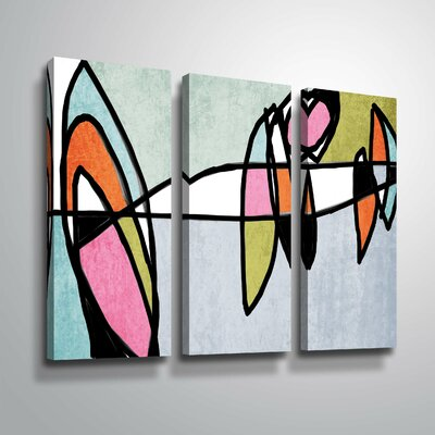 'Vibrant Colorful Abstract VI' Graphic Art Print Multi-Piece Image on Canvas Format: Wrapped Canvas, Size: 24