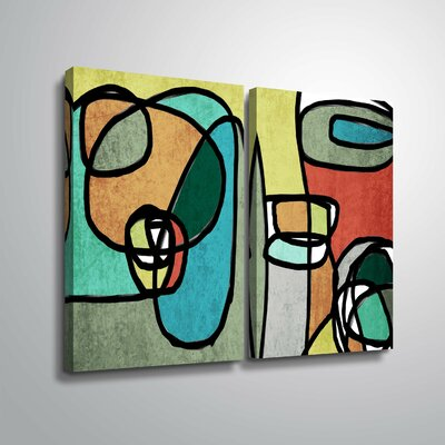 'Vibrant Colorful Abstract IX' Rectangle Graphic Art Print Multi-Piece Image Format: Wrapped Canvas, Size: 18