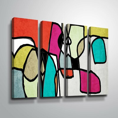 'Vibrant Colorful Abstract IV' Rectangle Graphic Art Print Multi-Piece Image on Canvas Format: Wrapped Canvas, Size: 24