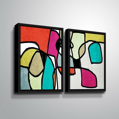 'Vibrant Colorful Abstract IV' Rectangle Graphic Art Print Multi-Piece Image Format: Black Framed, Size: 24