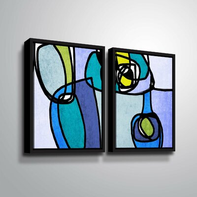 'Vibrant Colorful Abstract' Rectangle Graphic Art Print Multi-Piece Image Format: Black Framed, Size: 24