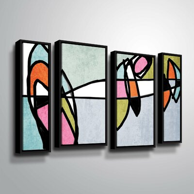 'Vibrant Colorful Abstract VI' Framed Graphic Art Print Multi-Piece Image Size: 24