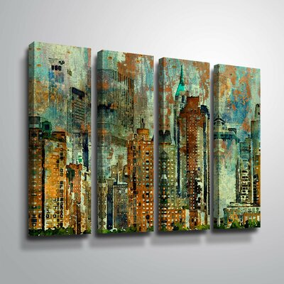 'Colorful New York' Rectangle Graphic Art Print Multi-Piece Image Format: Wrapped Canvas, Size: 24